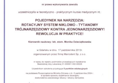 DENTYSTA Gdańsk CERTYFIKAT18