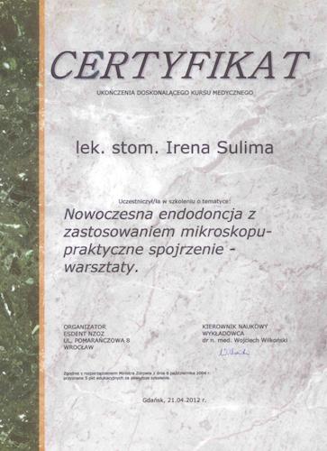 stomatolog Gdańsk CERTYFIKAT2