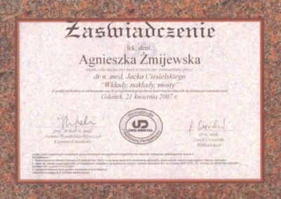 stomatolog Gdańsk CERTYFIKAT25