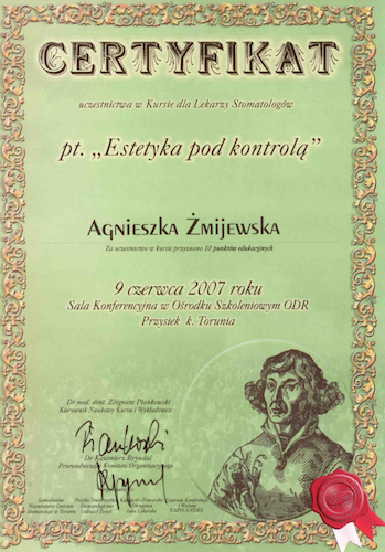 stomatolog Gdańsk CERTYFIKAT27