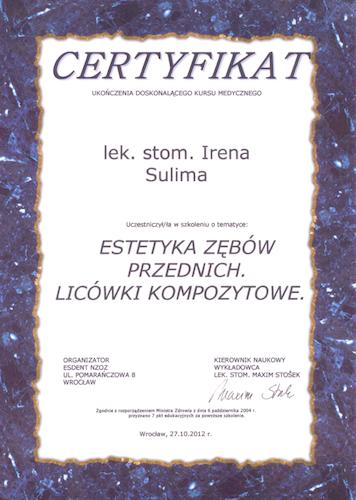 stomatolog Gdańsk CERTYFIKAT4
